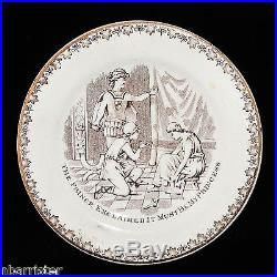 C1880 CINDERELLA + PRINCE CHARMING Childs Plate Derbyshire Sepia Transferware