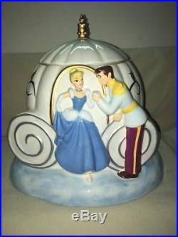 Carriage Ceramic Cookie Jar Cinderella Prince Charming Fairy Godmother Box Disny