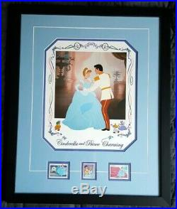 Cinderella And Prince Charming Disney Limited Ed. Stamps and Lithograph Rare