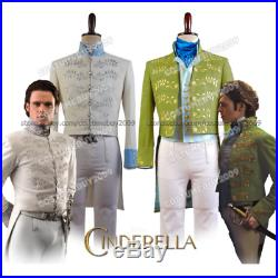 Cinderella COSplay Prince Charming Richard Madden White&Green Costume Halloween