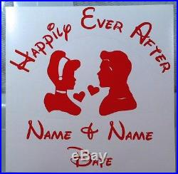 Cinderella and Prince Charming customized Happily Ever After vinyl decal