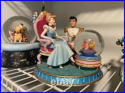 Cinderella and prince charming with mice snow globe