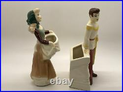 Cinderella in rags Prince Charming 1950 Shaw Pottery Disney Ceramic Planters