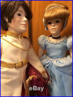 Disney Cinderella & Prince Charming Dolls By Jerri McCloud 1980's With Boxes