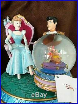 Disney Cinderella and Prince Charming Glass Slipper Snow Globe Music Box- In Box