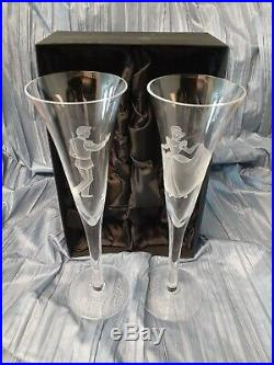 Disney Prince Charming & Cinderella Champagne Flutes Box Etched Signed