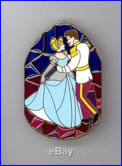 Disney Princess Cinderella & Prince Charming Stained Glass Jumbo LE 100 Pin