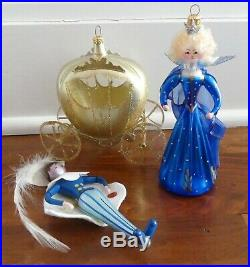 Group of 3 De Carlini Cinderella Prince Charming Carriage Glass Ornaments Italy