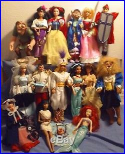 Lot of 15 Disney Barbies from the 90s Cinderella, Prince Charming, Jasmine, etc
