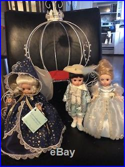 Madame Alexander Cinderella Prince Charming Fairy Godmother Dolls With Carriage