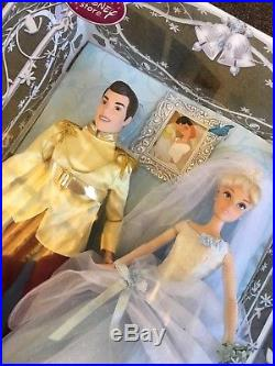 New Disney Cinderella & Prince Charming Once Upon A Wedding Doll Collection Set