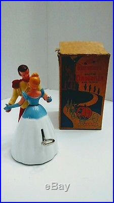 Old Vintage Disney cinderella and prince charming wind up waltz in Box by Irwin