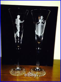 RARE! DISNEY CINDERELLA PRINCE CHARMING CHAMPAGNE WEDDING FLUTES BY INGRID
