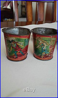 Rare Child's Antique Tin Litho 5 Pc Tea Set Cinderella & Prince Charming Germany