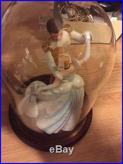 WDCC Cinderella & Prince Charming So this is Love In Glass Dome With Wood Stand